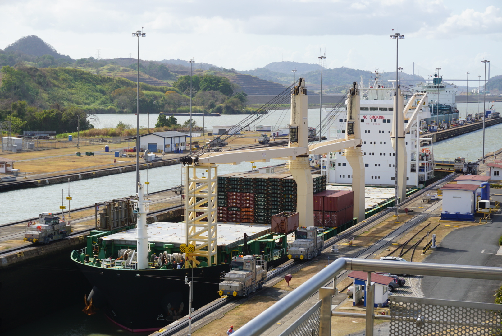 A view of one of the container ships passing through the Miraflores Locks at the Panama Canal.