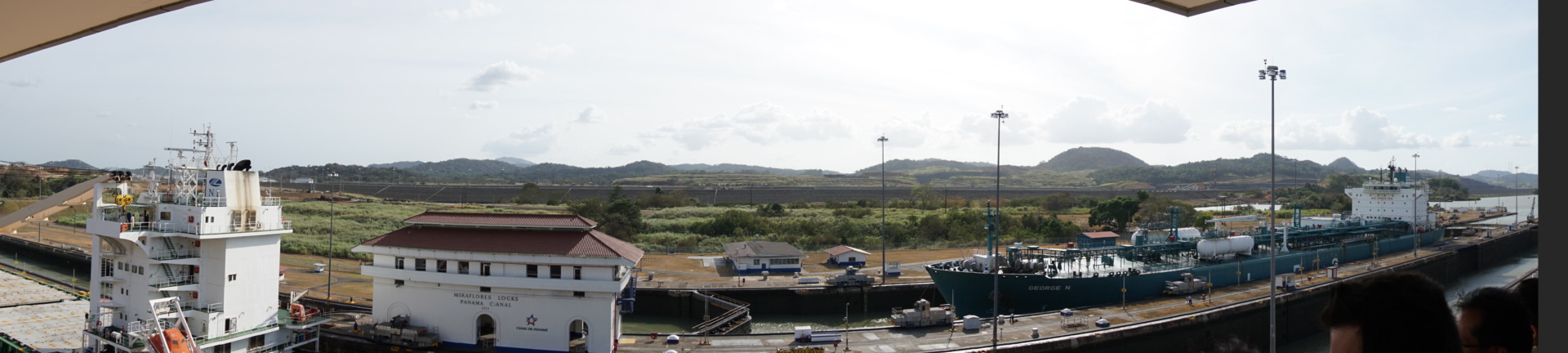 A panoramic view of the Miraflores Locks.
