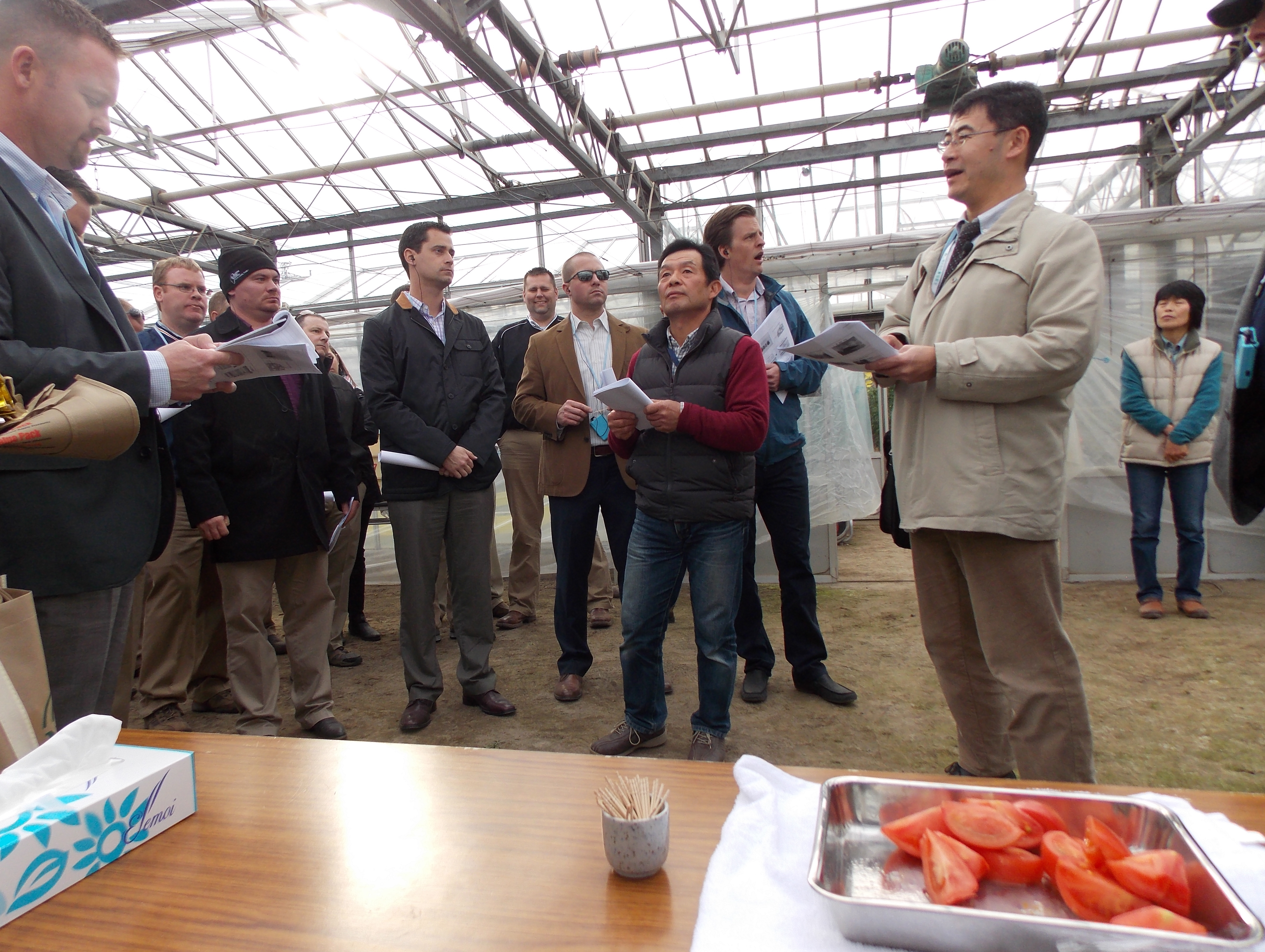 Mr. Ueno (center) discusses his greenhouse tomato farm with the IALP Class of 2026.