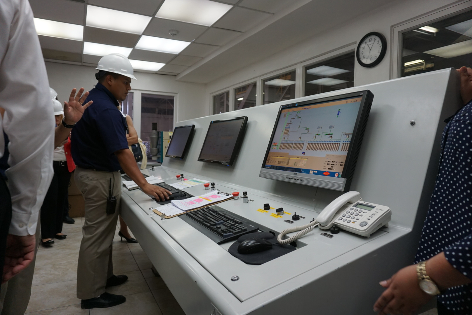 Control panels at Grupo Melo's grain processing facility.