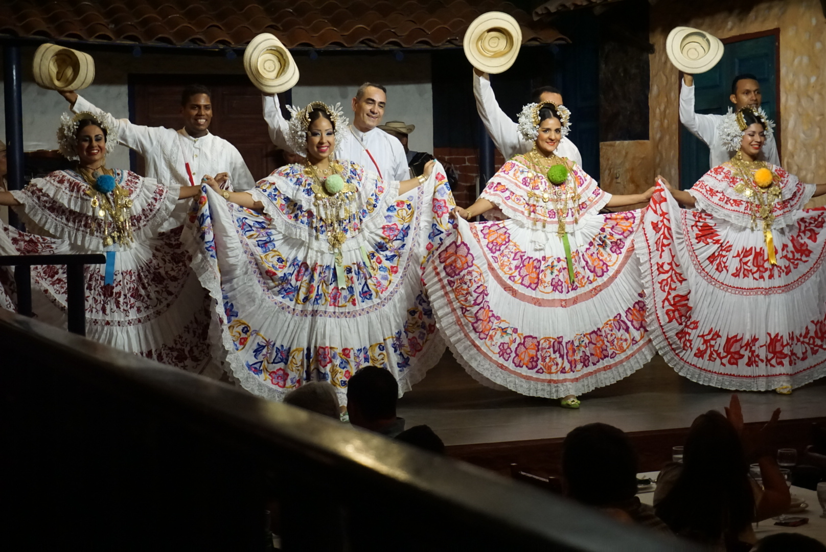 Dancers demonstrated traditional Panamanian dress and customs at Tinajas restaurant.
